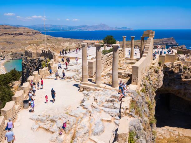 Lindos Acropolis and beach, Rhodes stock photo