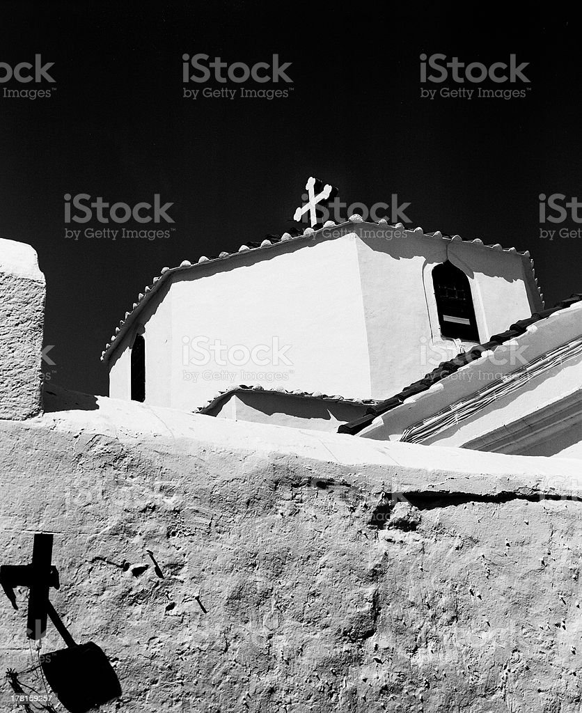 Lindos Church With Two Crosses royalty-free stock photo
