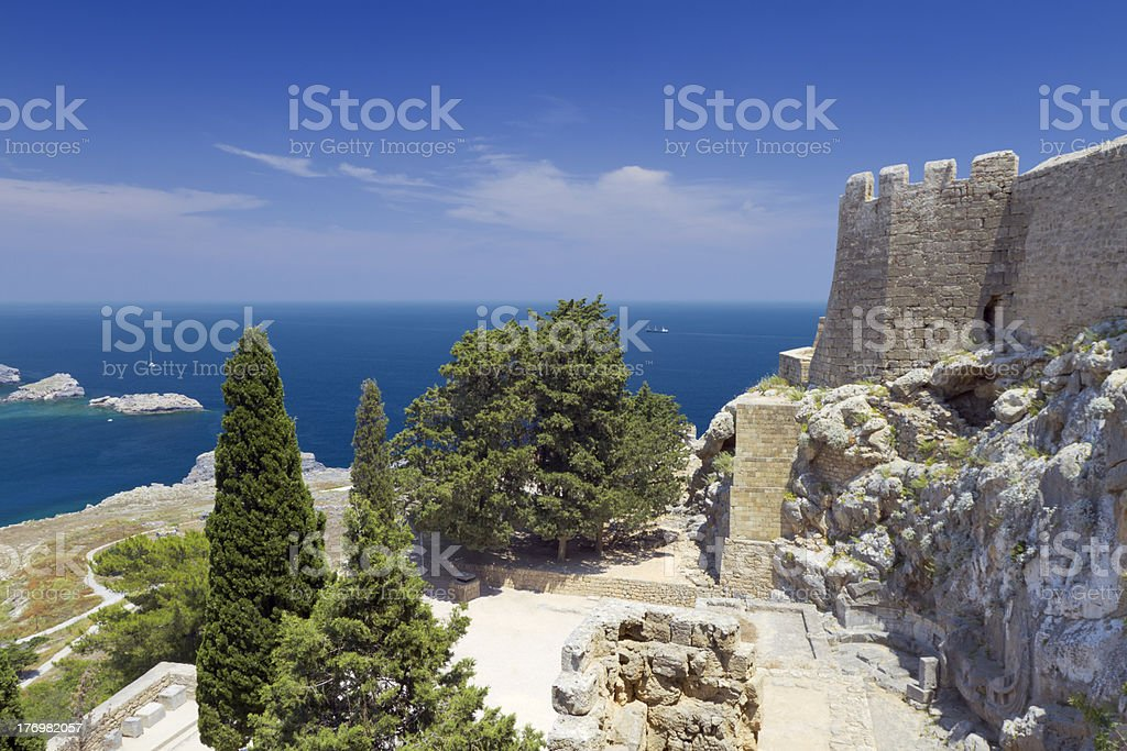 Lindos fortress stock photo