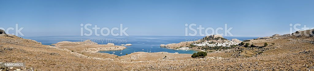 Lindos Landscape, Classical Sea Village of Greece 55 MP XXXL stock photo