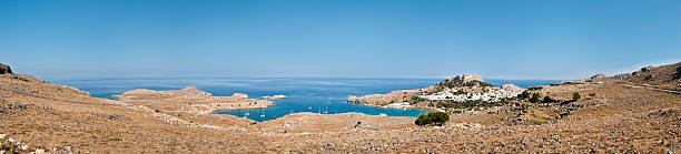 Lindos Landscape, Classical Sea Village of Greece 55 MP XXXL stock photo