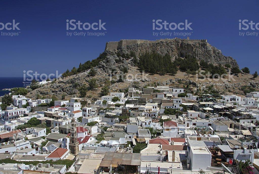 Lindos with Acropolis royalty-free stock photo