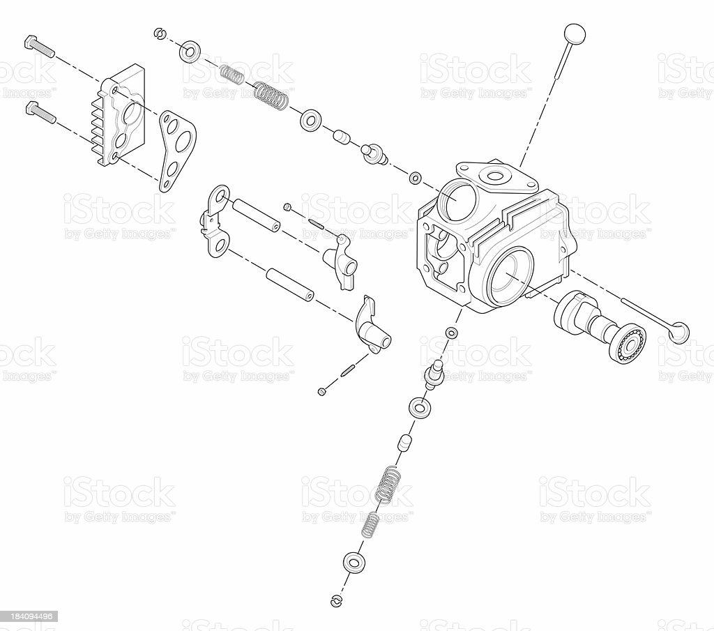 ATV Line Art Cylinder Head stock photo