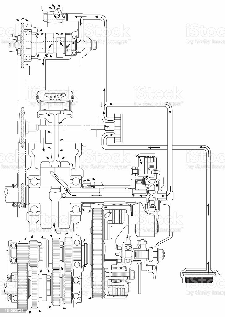 ATV Line Art Engine Oil Diagram stock photo