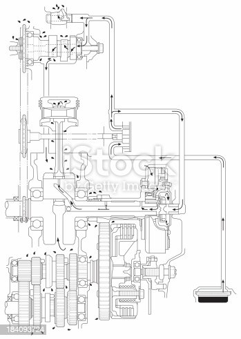 Atv Line Art Engine Oil Diagram Stock Photo & More