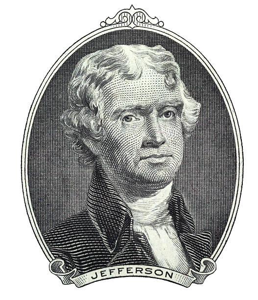 linea arte di thomas jefferson dal banconota da 2 dollari statunitensi - acquaforte foto e immagini stock