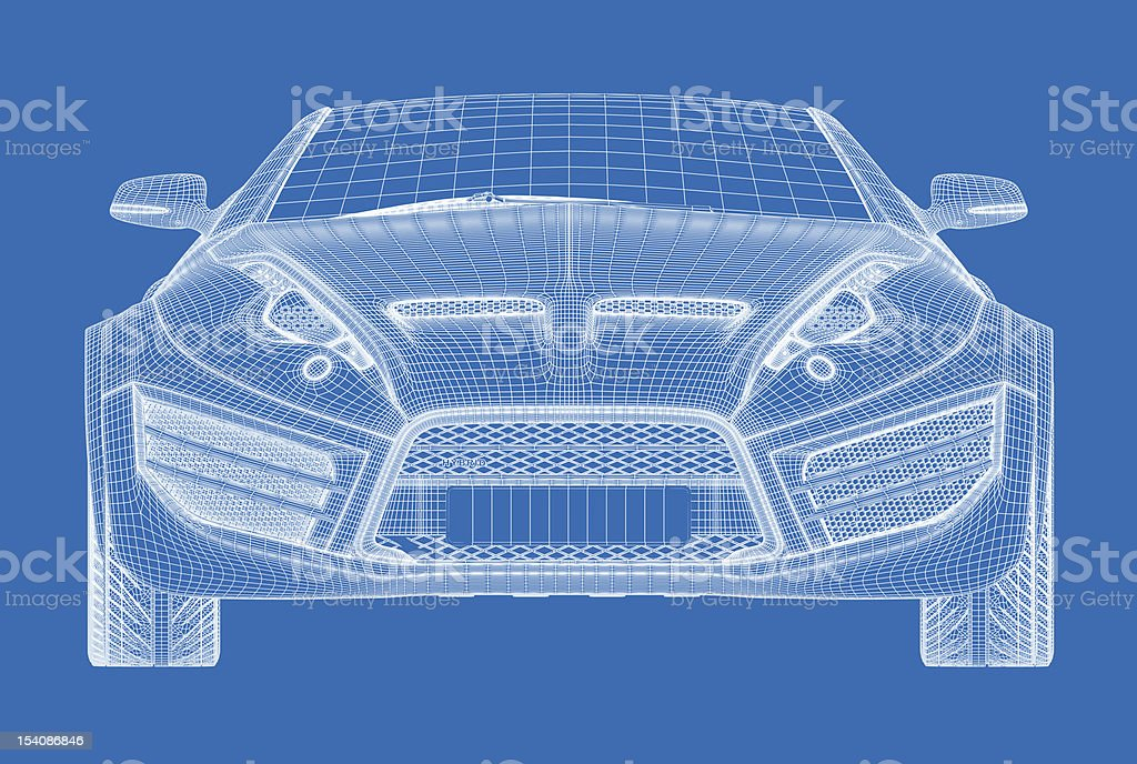 Line drawing in white on blue of a sports car stock photo