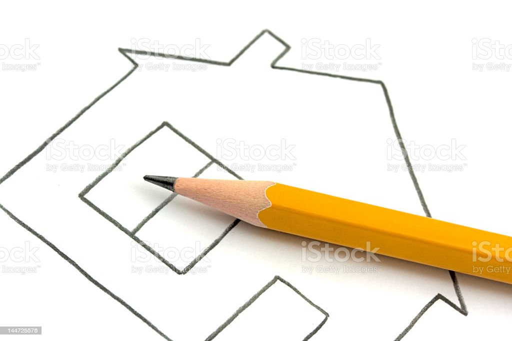 A line drawing of a house with a pencil buying on top royalty-free stock photo