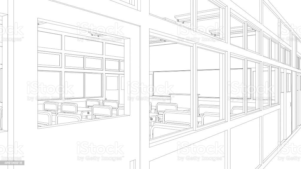 Classroom Design Sketch ~ Line drawing of classroom stock photo more pictures