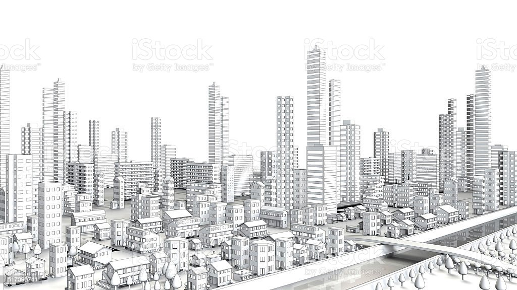 Line drawing of the distant view of the urban stock photo