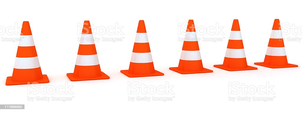 Line from Traffic Cones royalty-free stock photo