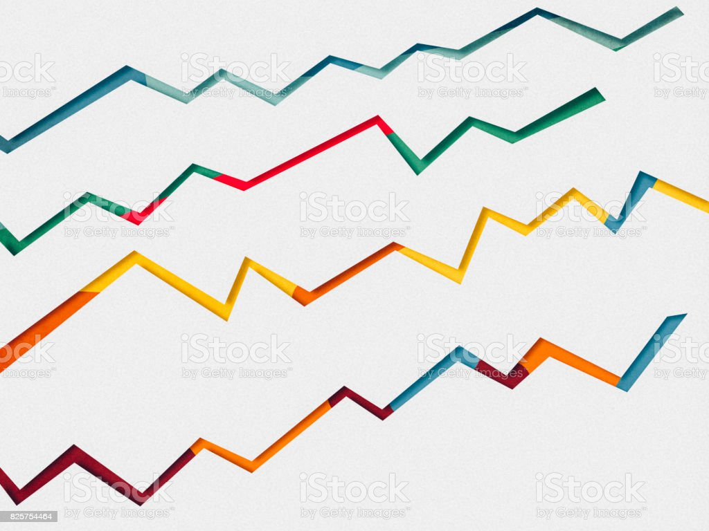 Line graph, paper cutting style stock photo