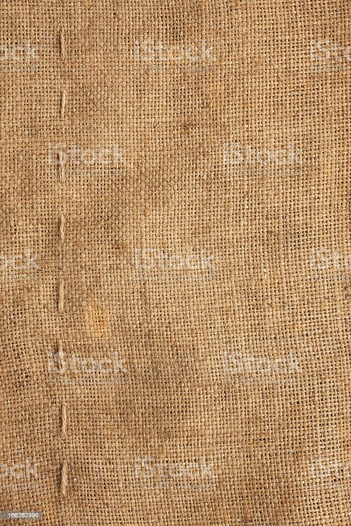 Line, guy-sutures on  Burlap ,sacking royalty-free stock photo