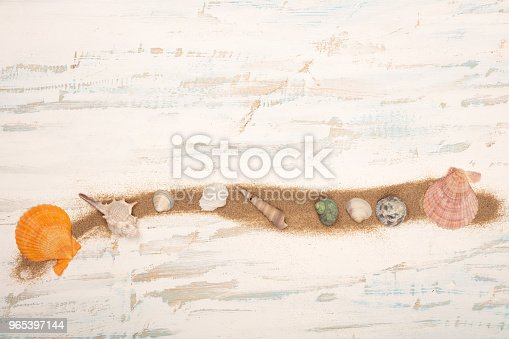 Line Of Beach Sand Decorated With Seashells Stock Photo & More Pictures of Adventure