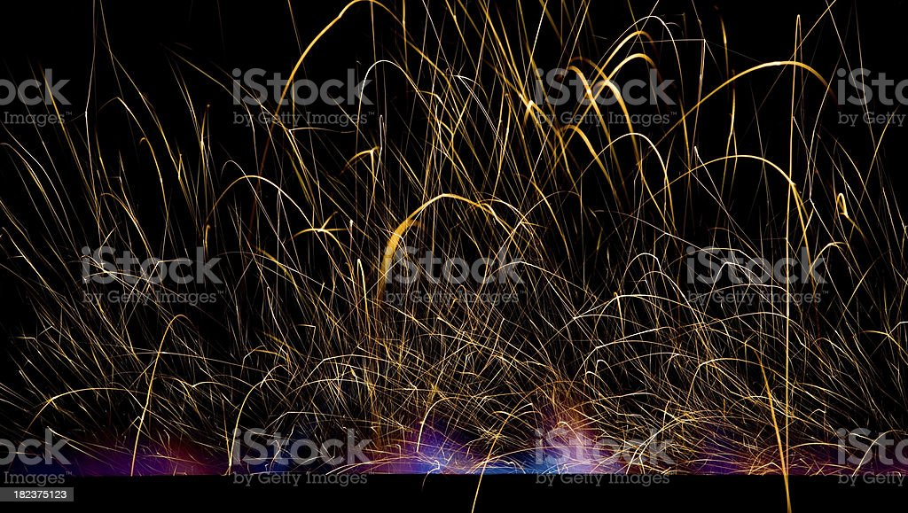 Line of Blue and Purple Fire with Sparks royalty-free stock photo