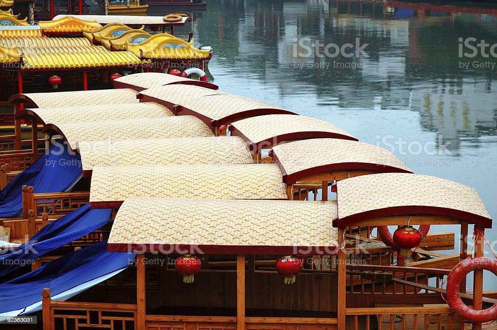 Line of boats at Qinhuai river royalty-free stock photo