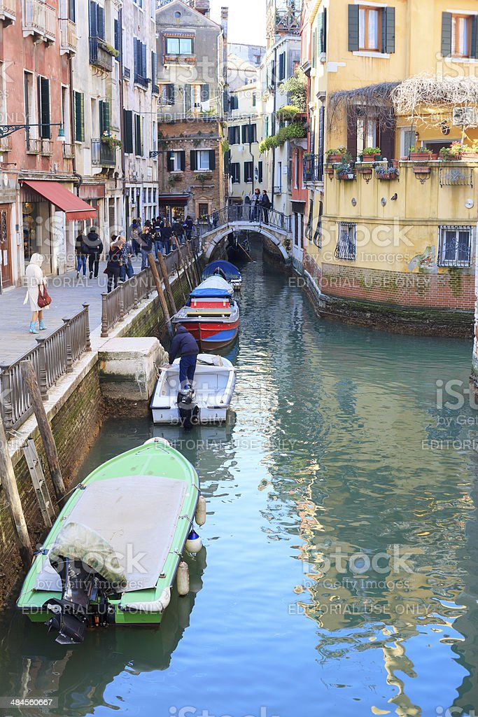 Line of Boats in Venice royalty-free stock photo