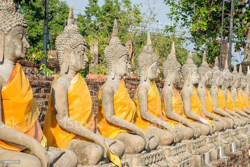 line of buddha statue stock photo