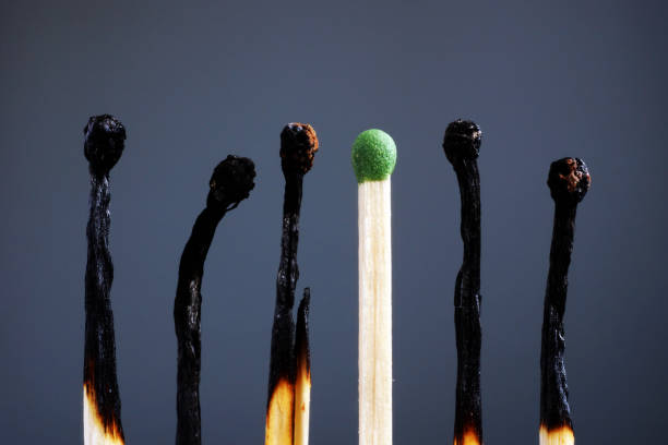 Line of burnt matches and one brand new. Individuality, leadership, burnout at work and energy. Line of burnt matches and one brand new. Individuality, leadership, burnout at work and energy. mental burnout stock pictures, royalty-free photos & images