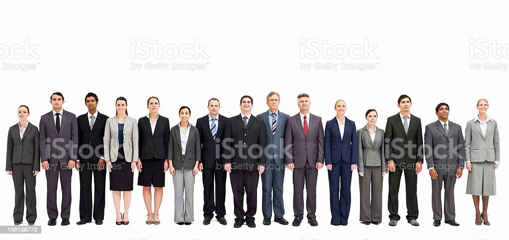 Line of Businesspeople - Isolated stock photo