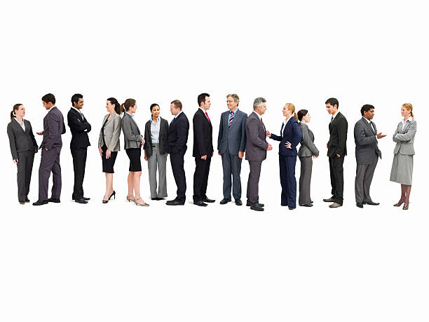 Line of Businesspeople Talking - Isolated Large group of businesspeople talking with one another while standing in line. Isolated on white. Horizontal shot. people in a row stock pictures, royalty-free photos & images