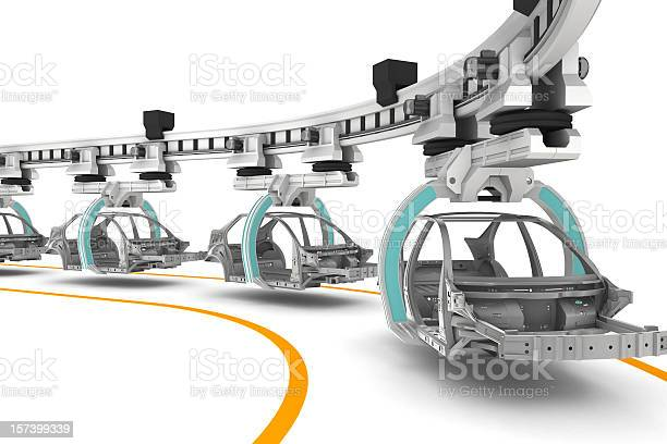 Line of cars being built on a white background picture id157399339?b=1&k=6&m=157399339&s=612x612&h=lbhybso mlasqnjzlxhthdtfykeweejqccbkwng9kgk=