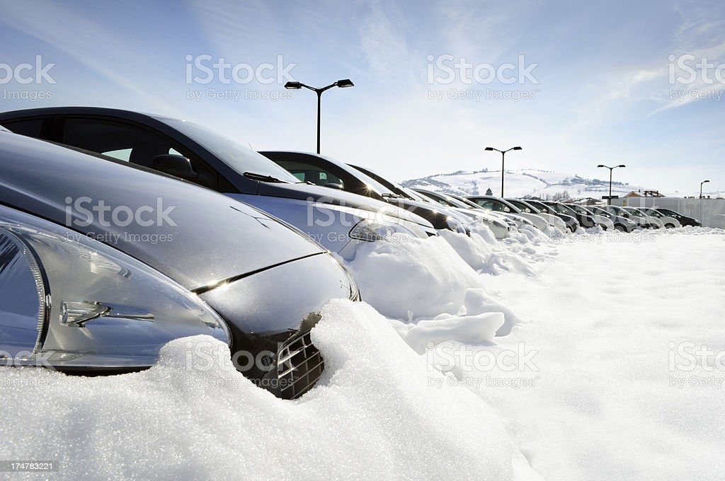 Line Of Cars In The Snow royalty-free stock photo