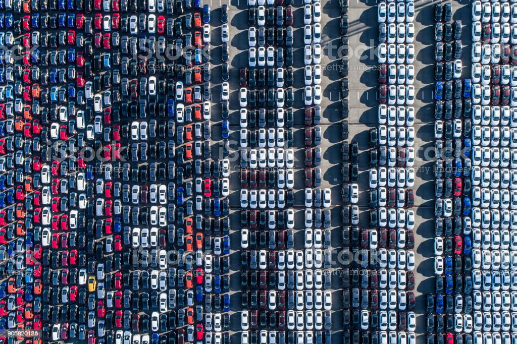 A line of cars. stock photo