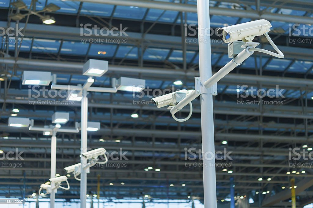 line of CCTV camera or surveillance operating stock photo