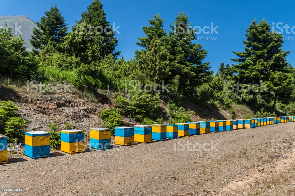 A line of colored beehives in Kythera island in Greece stock photo