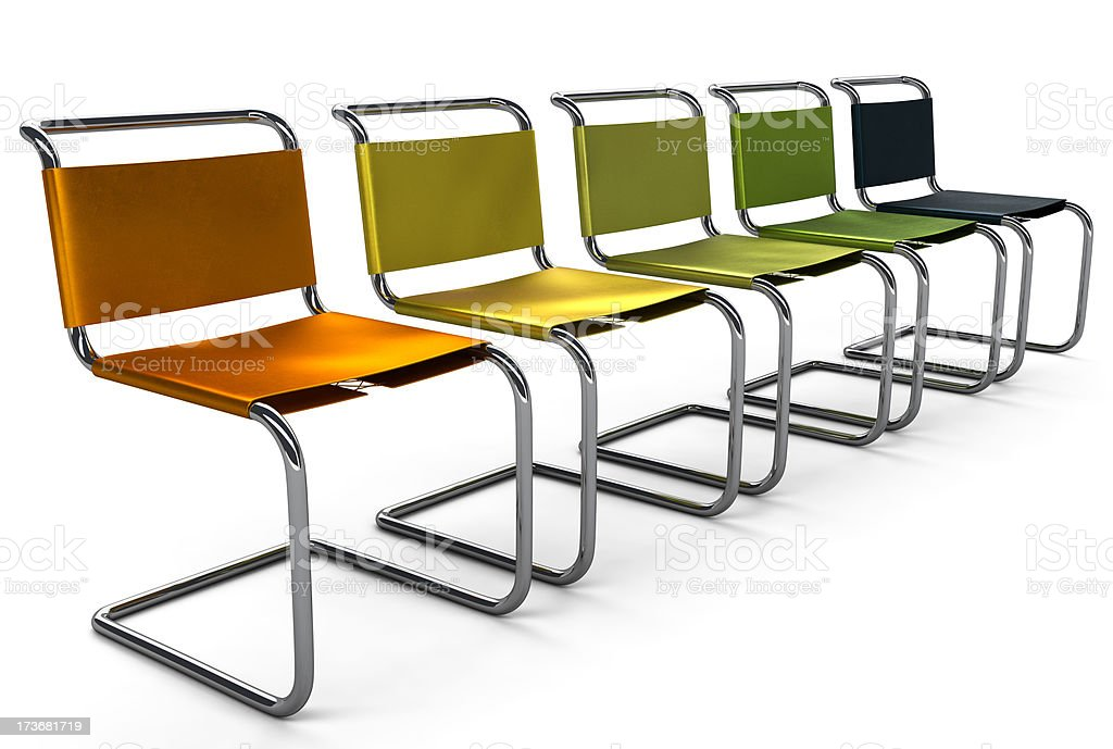 Line of Colored Office Chairs stock photo