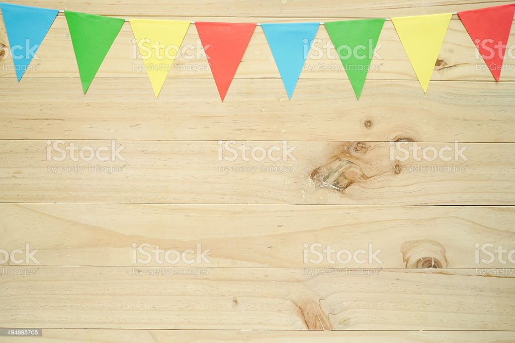 Line of colourful party flags stock photo