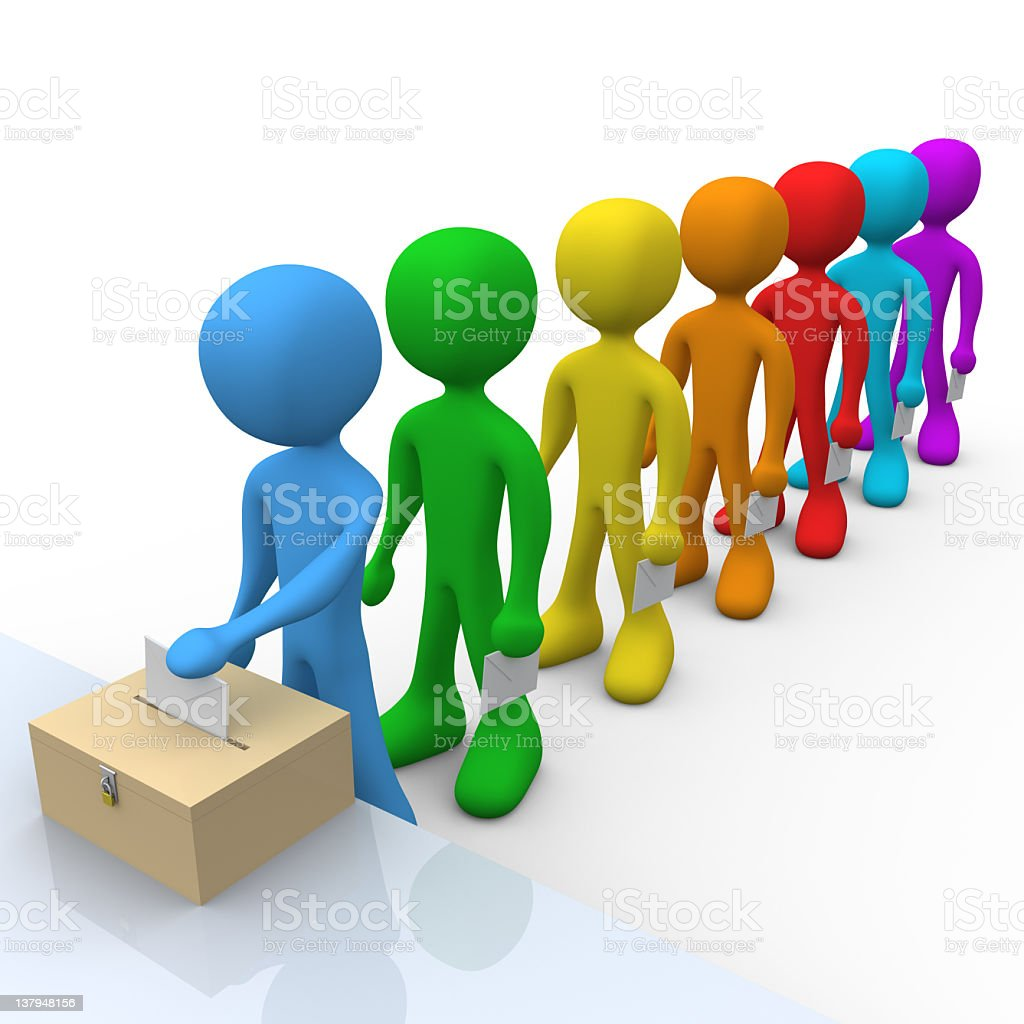 A line of different colored people casting their vote royalty-free stock photo