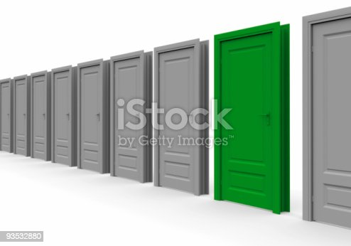 507793335 istock photo line of doors. One is marked green 93532880