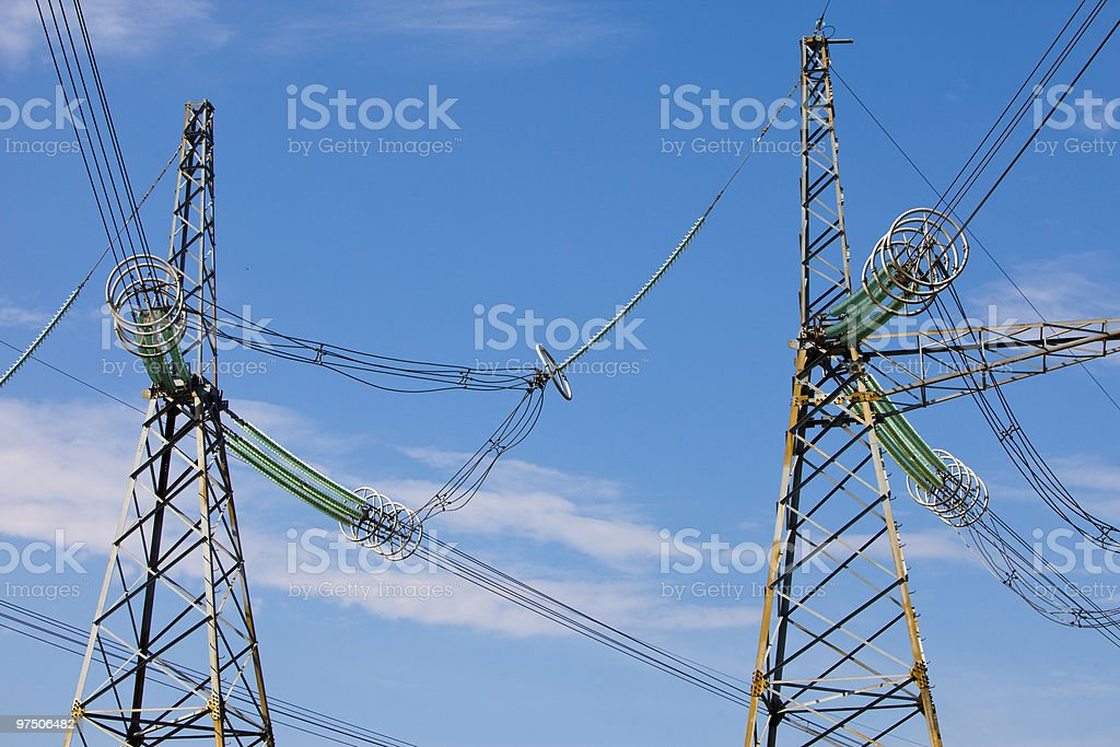 line of electricity transmissions royalty-free stock photo