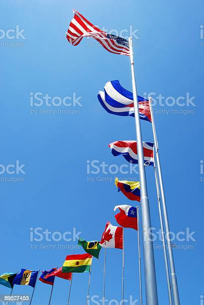 A line of flags from different countries