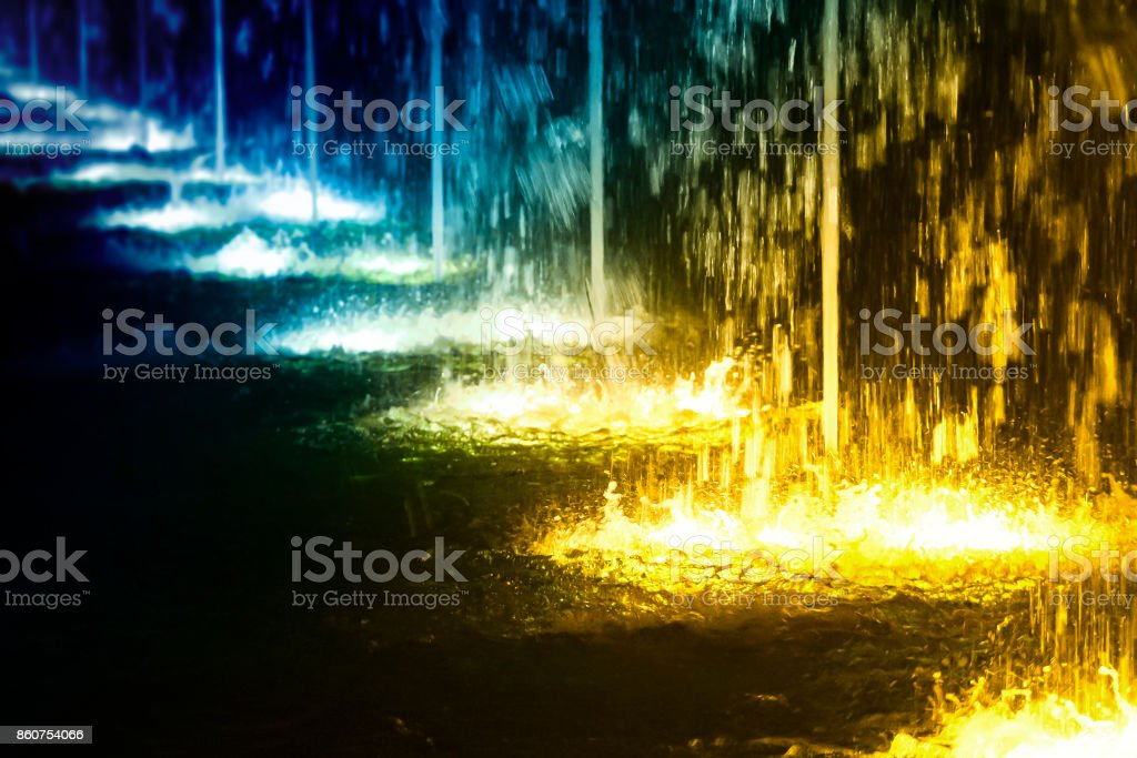 Line of fountains stock photo