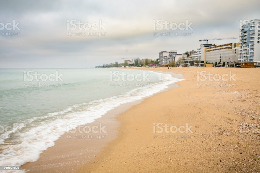 line of hotels in golden sand beach near Varna, Bulgaria. stock photo
