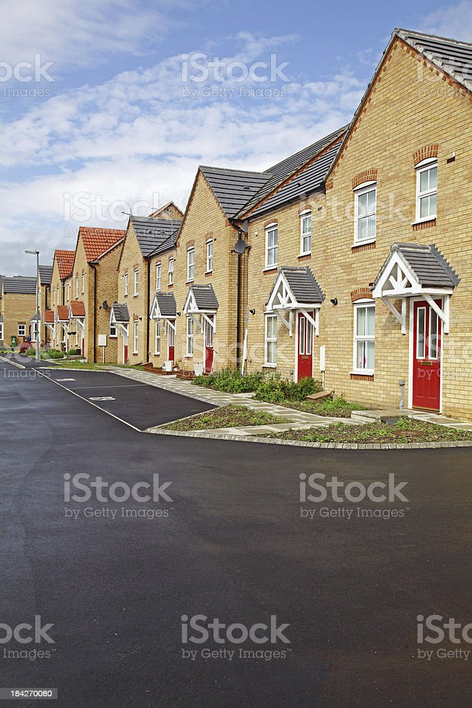 Line of houses in United Kingdom stock photo