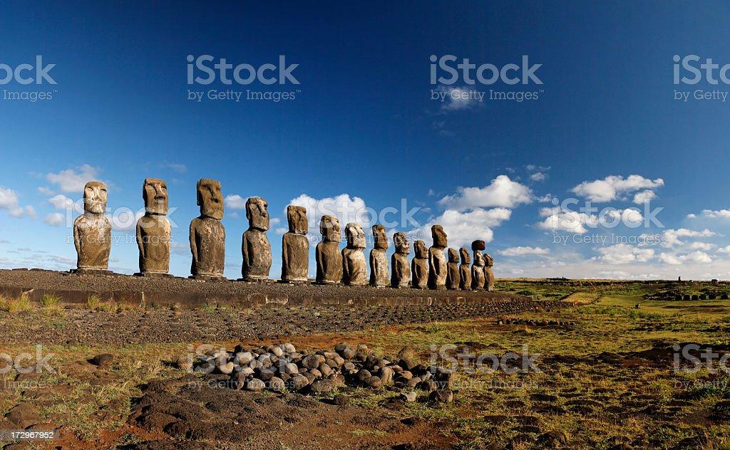 Line of Maoi statues at Ahu Tongariki, Easter Island stock photo