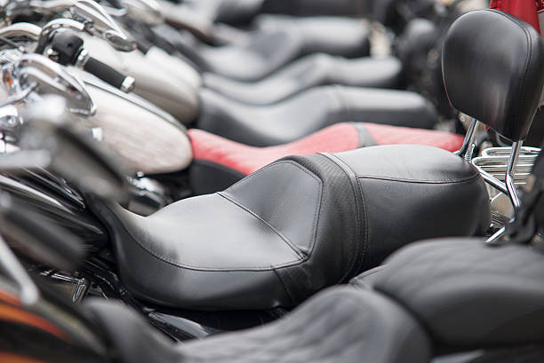 line of motorcycles line of motorcycles vehicle seat stock pictures, royalty-free photos & images