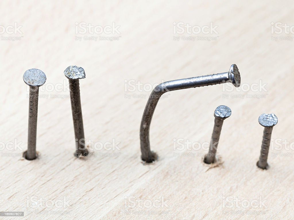line of nails stock photo