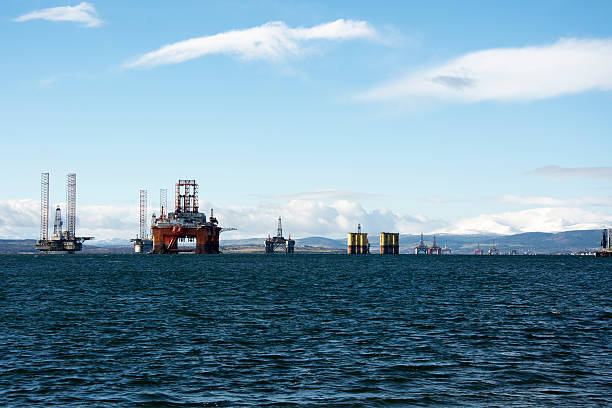 Line of Oil Rigs stock photo