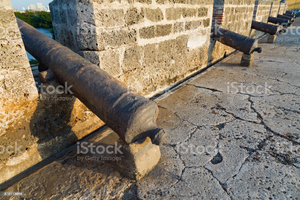 Line of old Cannons stock photo