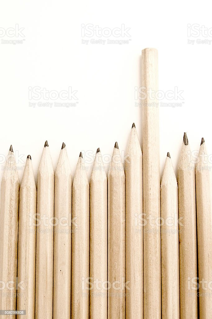 line of pencils with one upside down concept being different stock