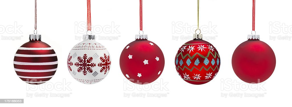 A line of red Christmas baubles royalty-free stock photo