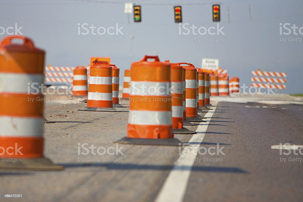 Line of road cones stock photo