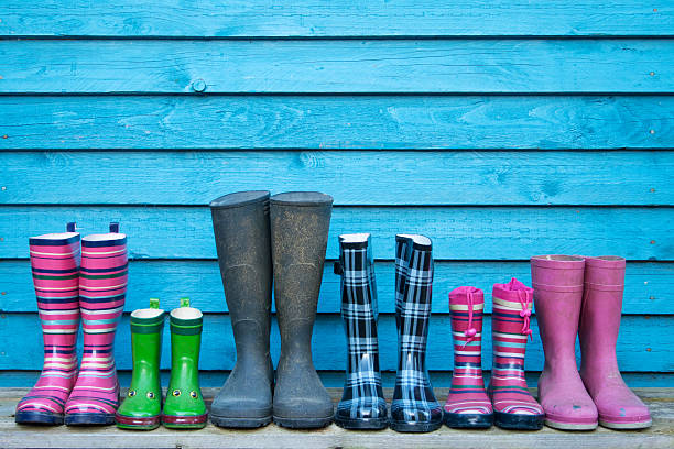 line of rubber boots​​​ foto