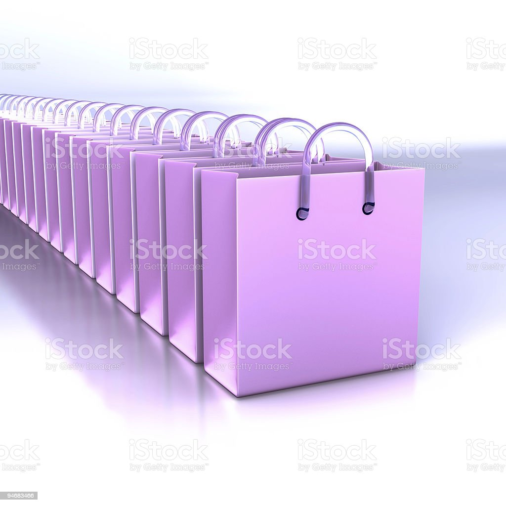 Line of shopping bags royalty-free stock photo