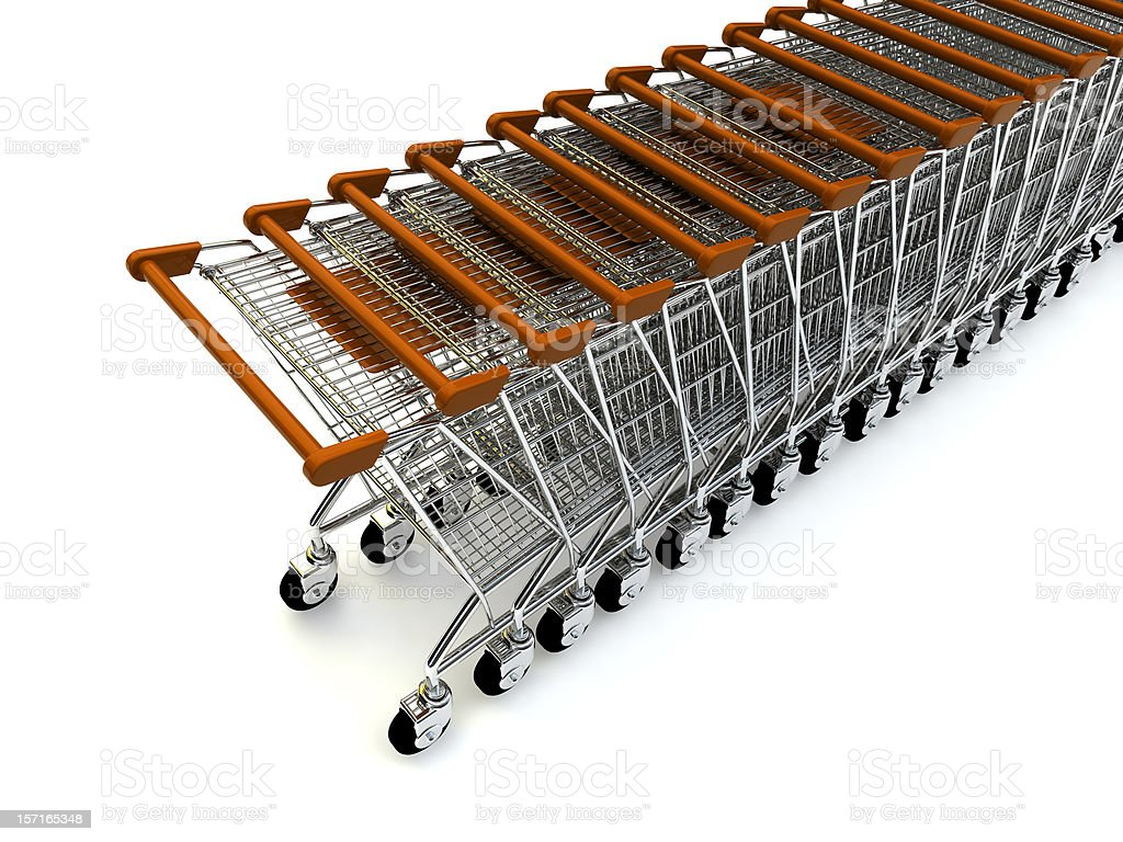 A Line of shopping trolleys with red handles stock photo